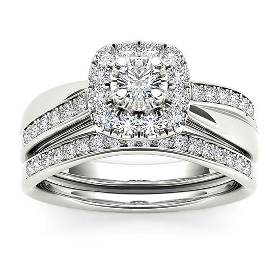 Womens 5/8 CT. T.W. Genuine White Diamond 10K White Gold Bridal Set