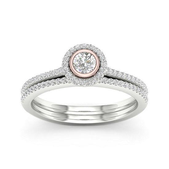 Womens 3/8 CT. T.W. Genuine White Diamond 10K Two Tone Gold Bridal Set