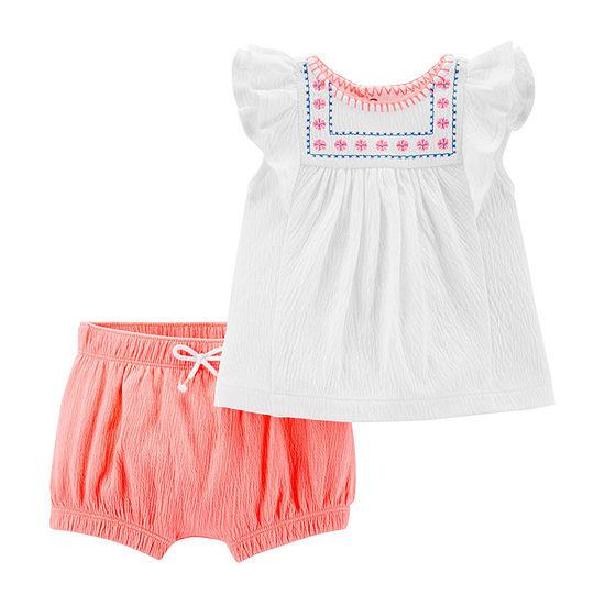 Carters 2 Pc Short Set Baby Girls