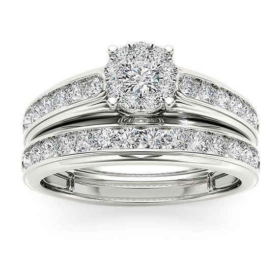 Womens 1 1/2 CT. T.W. Genuine White Diamond 10K Rose Gold Bridal Set