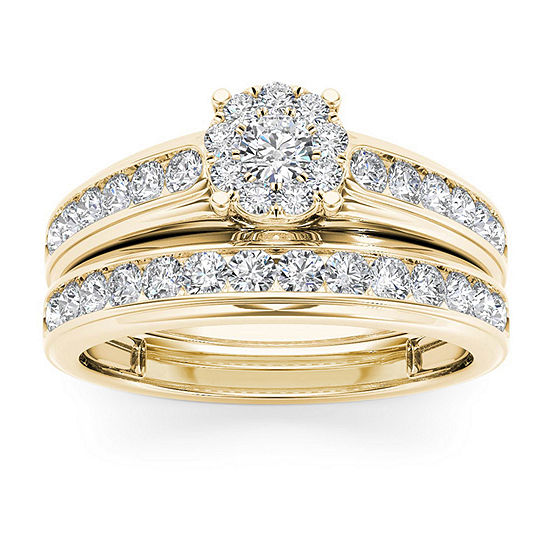 Womens 1 1/2 CT. T.W. Genuine White Diamond 10K Gold Bridal Set
