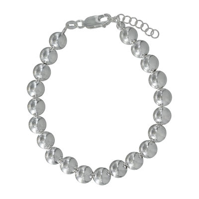 Made in Italy Sterling Silver 7.5 Inch Semisolid Bead Chain Bracelet