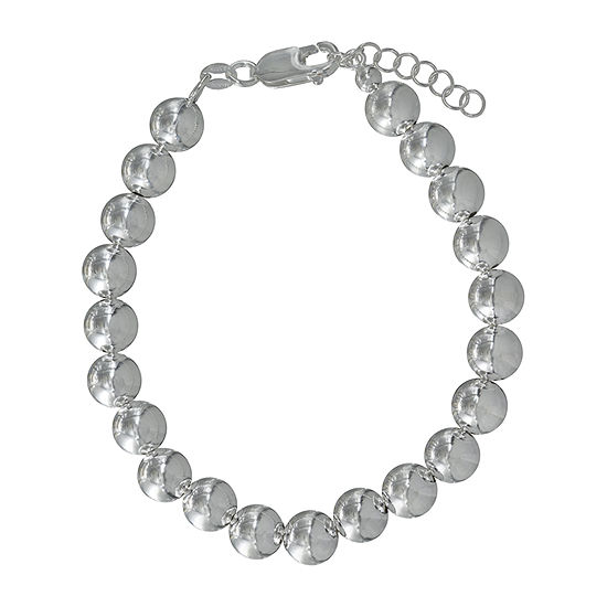 Made In Italy Sterling Silver 75 Inch Semisolid Bead Chain Bracelet
