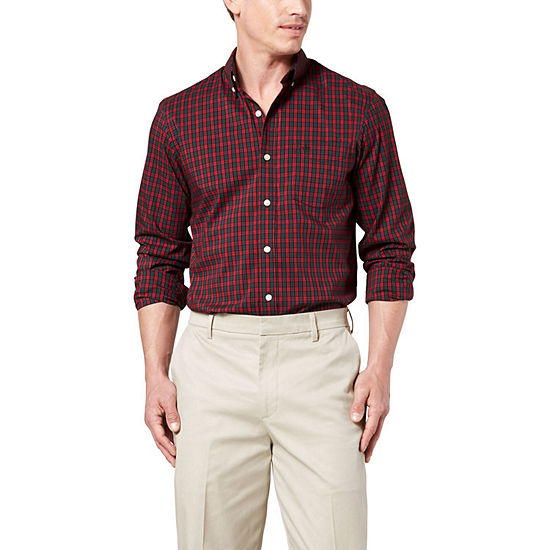 Dockers Mens Long Sleeve Gingham Button-Front Shirt