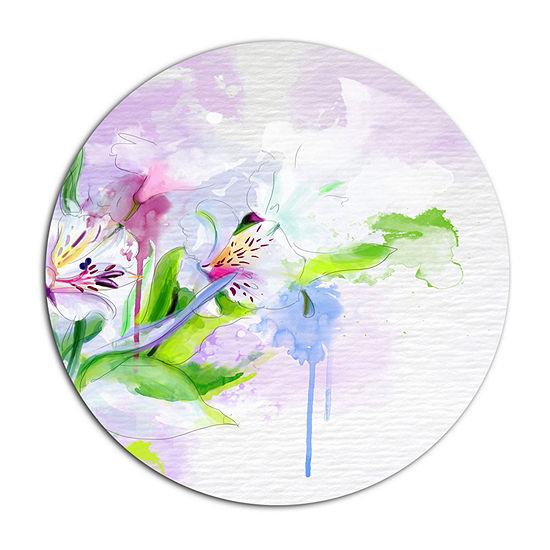 Designart Beautiful Floral Sketch Watercolor Floral Metal Round Wall Decor