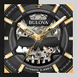 Bulova Maquina Mens Black Leather Strap Watch-97a148