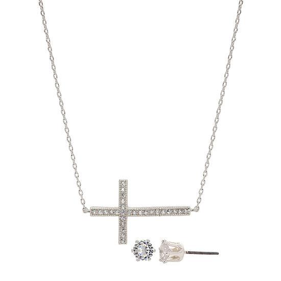 Sparkle Allure 3-pc. Cubic Zirconia Pure Silver Over Brass Cross Jewelry Set