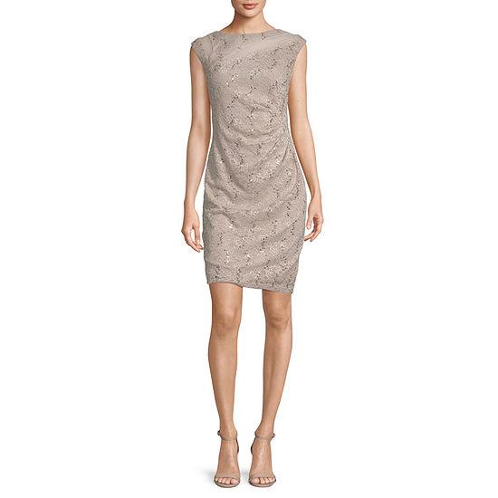 Scarlett Cap Sleeve Sequin Lace Sheath Dress