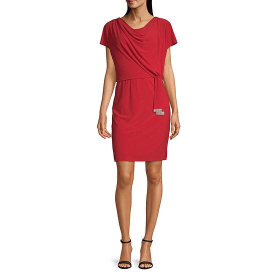 MSK Short Sleeve Embellished Blouson Dress