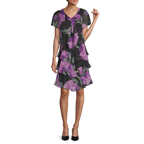 S. L. Fashions Short Sleeve Floral Tiered Sheath Dress