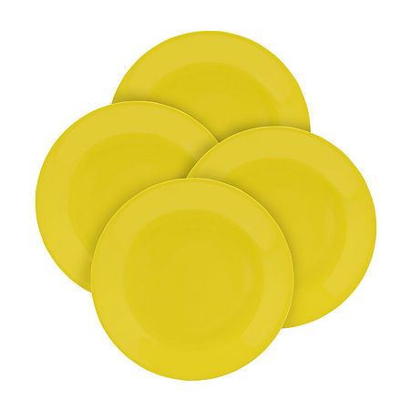 Outdoor Summer Set of 4 Melamine Dinner Plates, One Size , Yellow