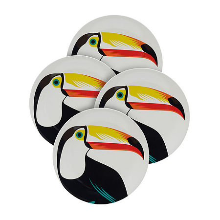 Outdoor Summer Set of 4 Melamine Salad Plates, One Size , Multiple Colors