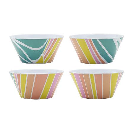 Outdoor Summer Set of 4 Melamine Salad Bowls, One Size , Multiple Colors