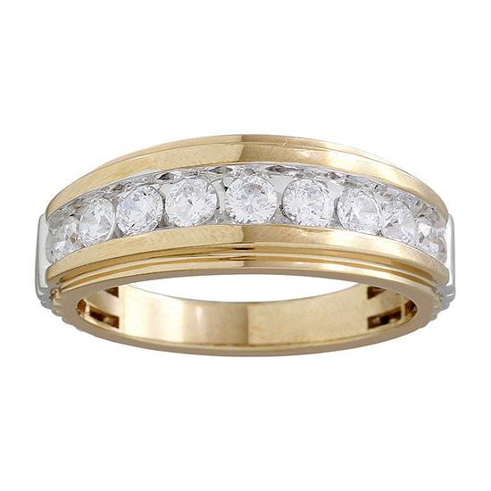 1 CT. T.W. Genuine White Diamond 10K Two Tone Gold Wedding Band