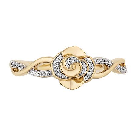 Enchanted Disney Fine Jewelry Womens Diamond Accent Genuine Diamond 10K Gold Flower Belle Cocktail Ring, 7