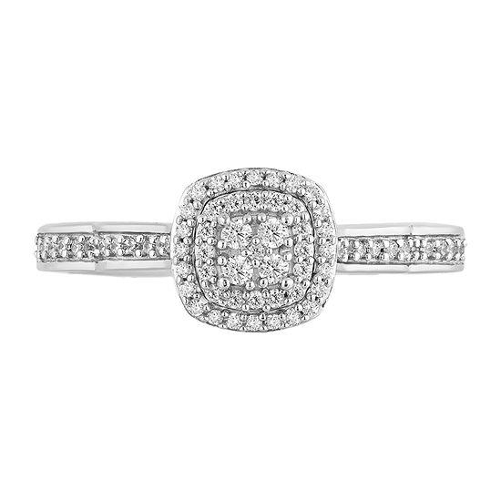 Enchanted Disney Fine Jewelry Womens 1/4 CT. T.W. Genuine White Diamond 10K White Gold Cinderella Engagement Ring