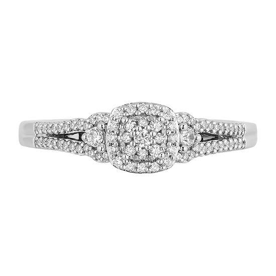Womens 1/4 CT. T.W. Genuine White Diamond 10K White Gold Round Cinderella Engagement Ring