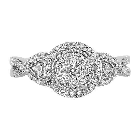 Womens 1/2 CT. T.W. Genuine White Diamond 10K White Gold Round Cinderella Engagement Ring