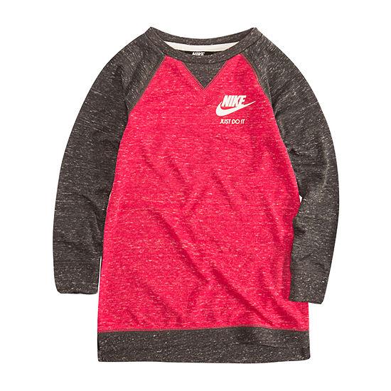 Nike Little Girls Long Sleeve Logo T-Shirt Dress