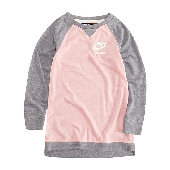 Nike Little Girls Long Sleeve Logo T-Shirt Dress