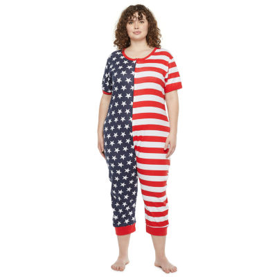 Americana Family Womens Plus Short Sleeve One Piece Pajama