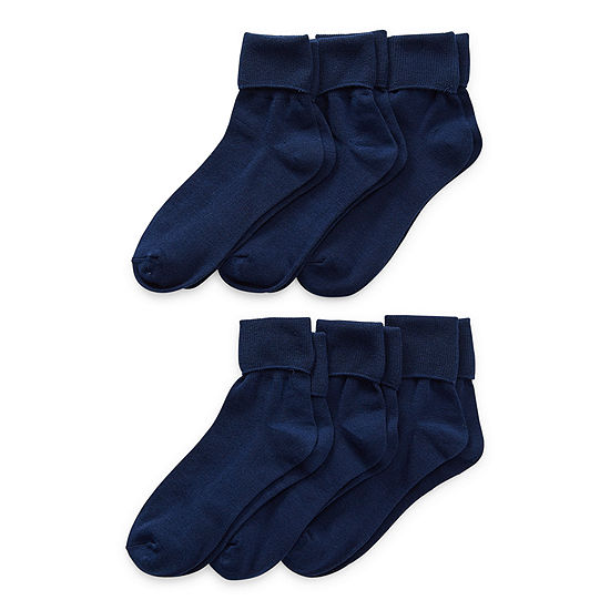 Thereabouts Uniform Little & Big Girls 6 Pair Turncuff Socks