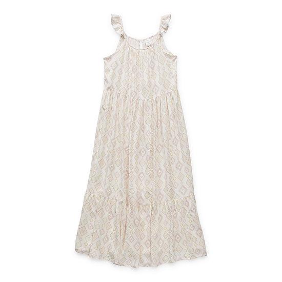 Arizona Little & Big Girls Sleeveless Geometric Maxi Dress