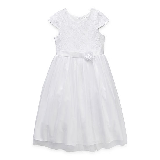Emerald Sundae First Communion Little & Big Girls Short Sleeve Cap Sleeve Fit & Flare Dress