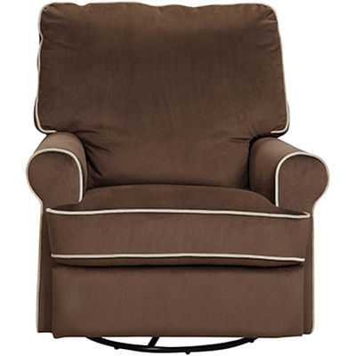 Birch Hill Swivel Glider Recliner - Stella Coffee with Doe Piping