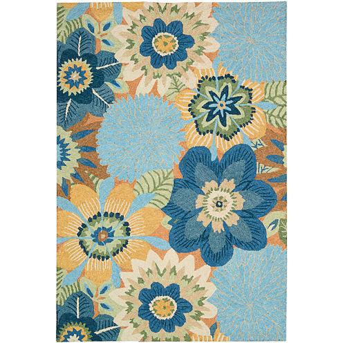Nourison® Floral Burst Hand-Hooked Indoor/Outdoor Rectangular Rug