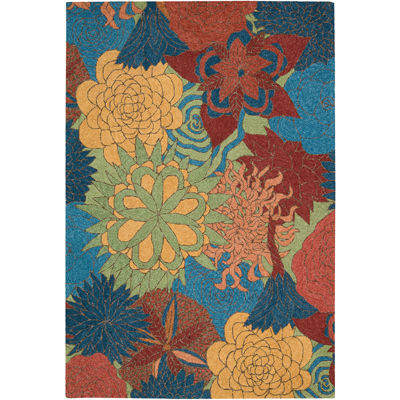 Nourison® Floral Bouquet Hand-Hooked Indoor/Outdoor Rectangular Rug