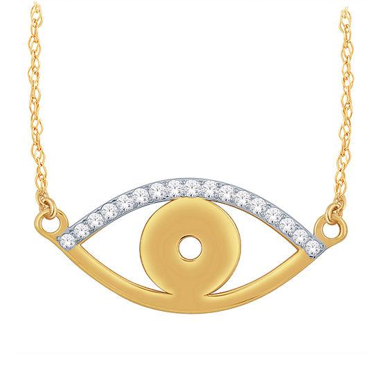 Womens Diamond Accent Genuine White Diamond 10K Gold Evil Eye Pendant Necklace