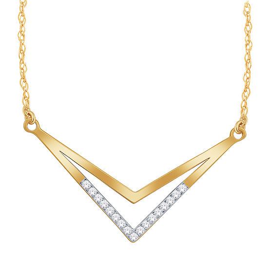 Womens Diamond Accent Genuine White Diamond 10K Gold Chevron Necklaces