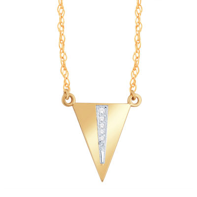 Womens Diamond Accent Genuine White Diamond 10K Gold Triangle Pendant Necklace