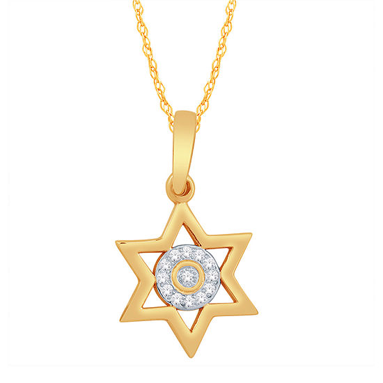 Womens Diamond Accent Genuine White Diamond 10K Gold Star Pendant Necklace