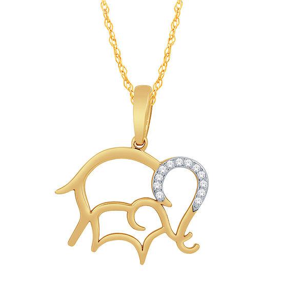 Womens Diamond Accent Genuine White Diamond 10K Gold Pendant Necklace