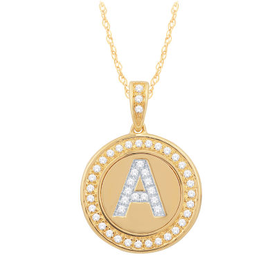 A Initial Womens 1/4 CT. T.W. Genuine White Diamond 10K Gold Pendant Necklace