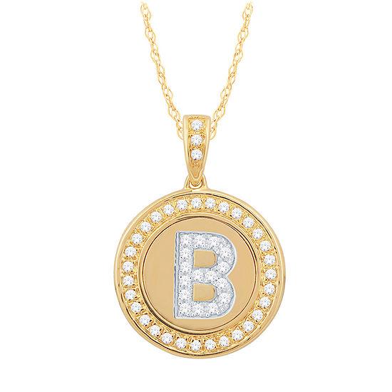 B Initial Womens 1/4 CT. T.W. Genuine White Diamond 10K Gold Pendant Necklace