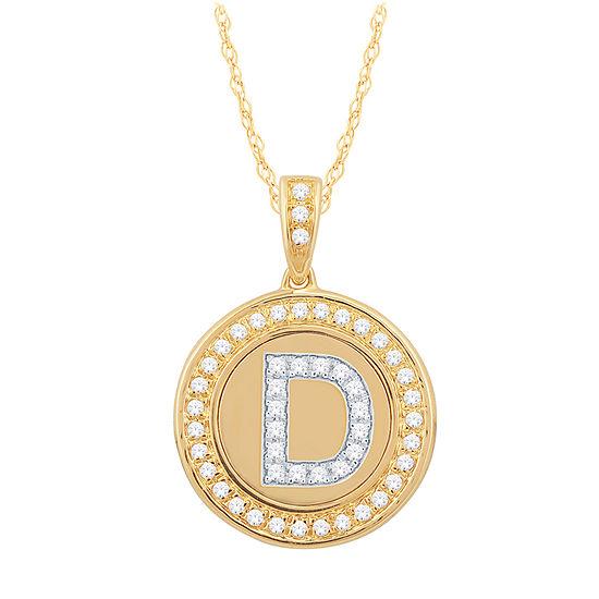 D Initial Womens 1/4 CT. T.W. Genuine White Diamond 10K Gold Pendant Necklace