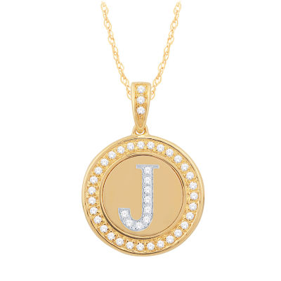 J Initial Womens 1/5 CT. T.W. Genuine White Diamond 10K Gold Pendant Necklace