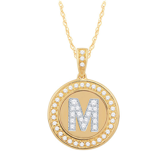 M Initial Womens 1/4 CT. T.W. Genuine White Diamond 10K Gold Pendant Necklace