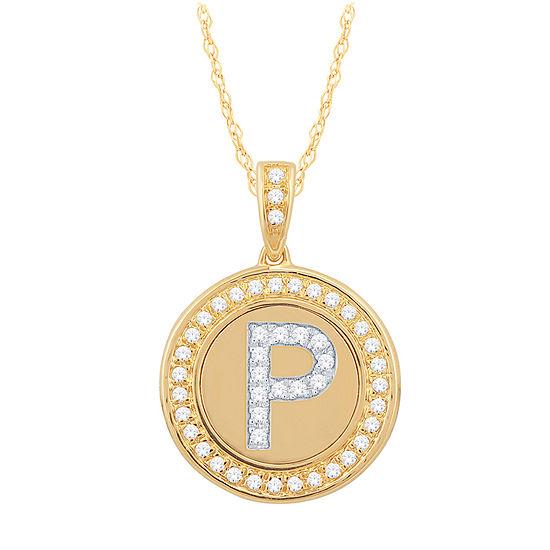 P Initial Womens 1/4 CT. T.W. Genuine White Diamond 10K Gold Pendant Necklace