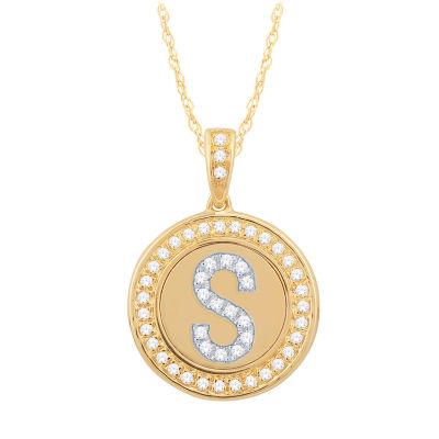 S Initial Womens 1/4 CT. T.W. Genuine White Diamond 10K Gold Pendant Necklace