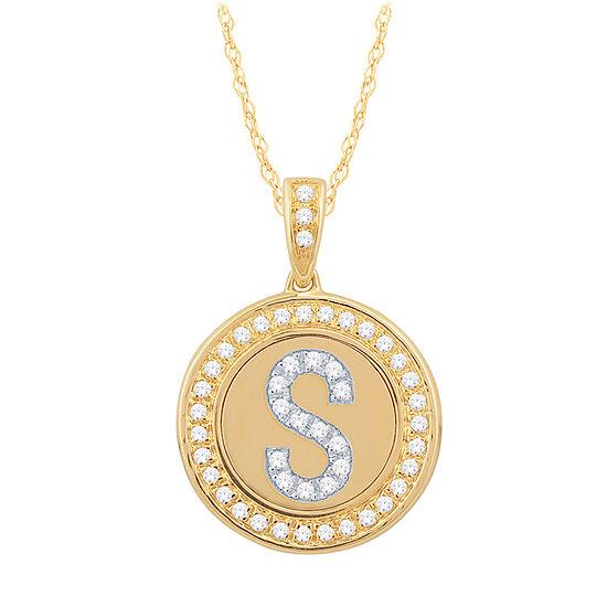 S Initial Womens 1 4 Ct Tw Genuine White Diamond 10k Gold Pendant Necklace