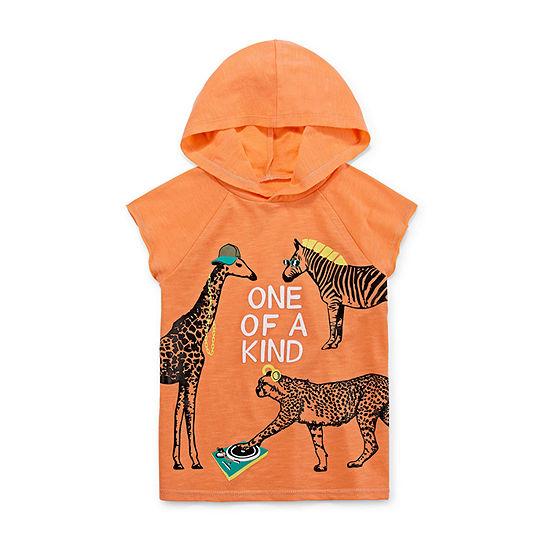 Okie Dokie Boys Hooded Neck Short Sleeve Graphic T-Shirt-Toddler