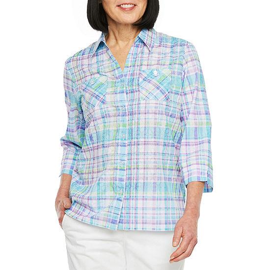 Alfred Dunner Catalina Island Womens 3/4 Sleeve Camp Shirt