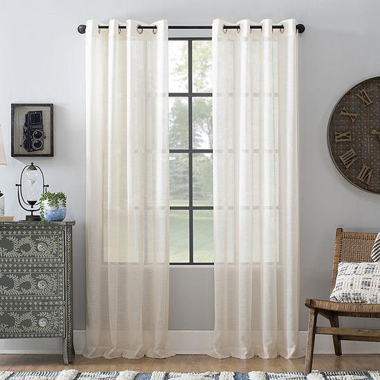 Archaeo Slub Textured Linen Blend Grommet-Top Sheer Curtain Panel