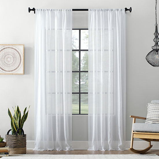 Archaeo Textured Cotton Blend Sheer Rod-Pocket Curtain Panel