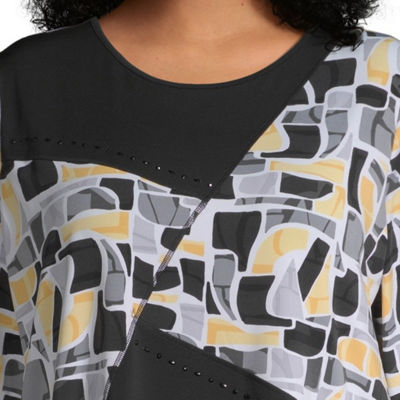 Alfred Dunner Native New Yorker 3/4 Sleeve Abstract Tee - Plus