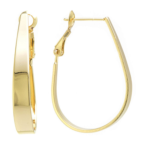 Silver Reflections 24k Gold Over Brass 32mm Oval Hoop Earrings